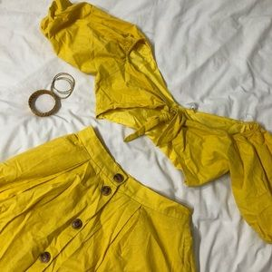 YELLOW TWO PIECE SUMMER SKIRT AND CROP TOP